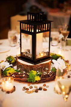 candle lantern wedding centerpieces koru wedding style green white winter florida wedding