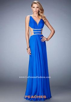 Shop long v-neck dresses with side cut-outs at PromGirl. La Femme dresses  with beaded details for formal dances and wedding receptions. f43300321