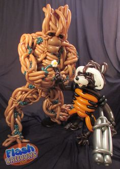 """""""We are Groot"""" the balloon! Rocket Racoon and Groot from Guardians of the Galaxy made by Edmonton based balloon artist Phileas Flash."""