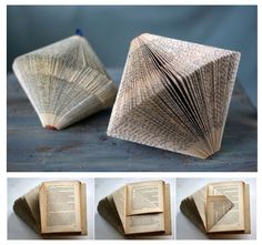 Paper Origami Source by ocmverlag Origami Diy, Origami Simple, Origami Ideas, Diy Old Books, Recycled Books, Diy Paper, Paper Art, Paper Crafts, Book Folding Patterns