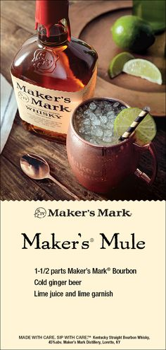 Maker's Mark Mule Sweet and crisp with just the right bite, this refreshing take on the Moscow Mule Fruity Drinks, Refreshing Drinks, Summer Drinks, Moscow Mule, Bourbon Cocktails, Cocktail Drinks, Liquor Drinks, Alcoholic Drinks, Beverages