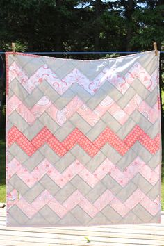 Baby Quilt Pink and Grey Chevron by ellascottage on Etsy Grey Quilt, Chevron Quilt, Grey Chevron, Pink Grey, Baby Girl Quilts, Girls Quilts, Pink Quilts, Sewing Projects For Kids, Sewing For Kids