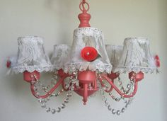 Check out this item in my Etsy shop https://www.etsy.com/listing/293085721/shabby-chic-chandelier-vintage-light