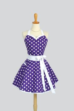 Sweetheart Retro Apron , Sexy Kitchen Apron in Purple and White Dots. $40.00, via Etsy.