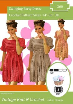 Ladies 60s Dress Crochet Pattern could be adapted to make a lovely top which would be bang up to date for the summer Sizes 34-36    No need
