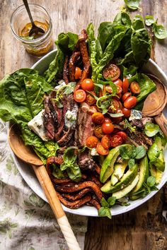 Sweet Potato Fry Steak Salad with Blue Cheese Butter. - Half Baked Harvest Soup And Salad, Pasta Salad, Rice Salad, Quinoa Salad, Blue Cheese Butter, Steak Salad, Ham Salad, Spinach Salad, Fruit Salad