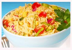 Orzo and Vegetable Salad with Basil Infused Olive Oil