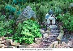 Miniature Garden Church...pebble, rock and wood stairway