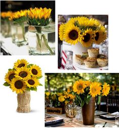 Wedding, Flowers, Reception, Centerpiece, Yellow, Decoration, Sunflower