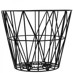 Ferm Living Korb Drahtkorb klein schwarz Wire Basket - Black - Small auch als Beistelltisch zu verwenden: Amazon.de: Küche & Haushalt