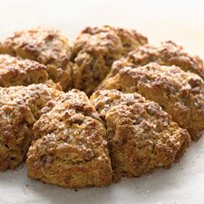 These deep-gold scones are as tasty as they are pretty. Cinnamon, ginger, allspice, and nutmeg spice the dough; diced crystallized ginger and cinnamon chips take their flavor over the top.