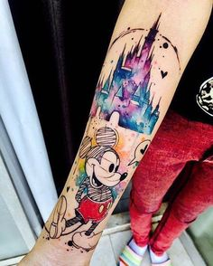 50 Disney Tattoos For Those Who Don& Want To Grow Up - Home Decorating More - Mickey Mouse Disney tattoo motif - Disney Tattoo Motive, Disney Sleeve Tattoos, Disney Tattoos Small, Small Tattoos, Tattoo Disney, Disney Castle Tattoo, Disney Tattoo Quotes, Disney Couple Tattoos, Colorful Sleeve Tattoos