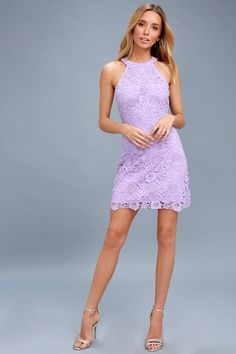 9e9e9a2654d Cute Lace Dress - Lavender Dress - Lace Bodycon Dress Short Lavender Dress
