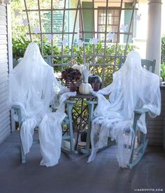 """Halloween decoration idea: """"Ghosts"""" in the rocking chairs on your front porch. More ideas: http://involvery.com/category/halloween/"""
