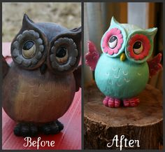 EASY paint transformation! So want to do this with the ugliest owl I can find!!!