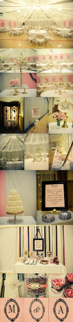 I like the black scroll work around the initials. Here is how it would look if the gym lights were left on with a canopy. Pretty wedding cake and cake stand with crystals hanging off.