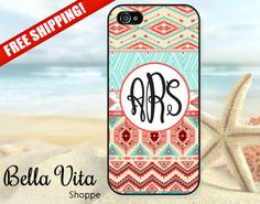 Aztec iPhone 5 Case, Personalized iPhone 5 5S 4 4S Case, Monogram iPhone 5 Case, Aztec Tribal Pink Turquoise on Etsy, $16.95