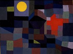 Paul Klee (1879-1940), Feuer bei Vollmond (Fire at Full Moon), 1933 (353). Watercolour over paste colour on grounded canvas. 50cm H x 65cm W. (Museum Folkwang, Essen)