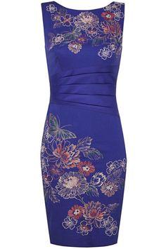 Blue Sleeveless Backless Kaliko Embroidered Dress