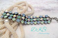 Mermaids Fantasy,Swarovski Bracelet,Bridal,Beach,Blue,Green,Aroura Borealis,Antique Silver,Adjustable,DKSJewelrydesigns