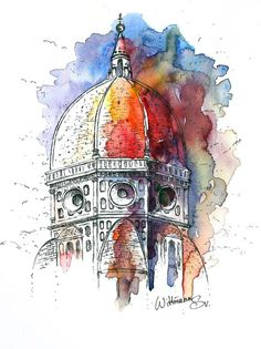 art - Original watercolor painting cm The cathedral of Florence Watercolour on paper 7 Watercolor And Ink, Watercolor Illustration, Watercolor Paintings, Simple Watercolor, Tattoo Watercolor, Watercolor Trees, Watercolor Animals, Watercolor Techniques, Watercolor Background