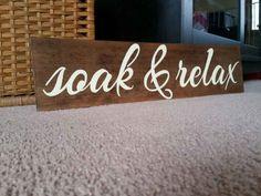 Soak & Relax Bathroom Decor, Hot Tub Sign, Hot Tub Decor, Bathroom Sign…