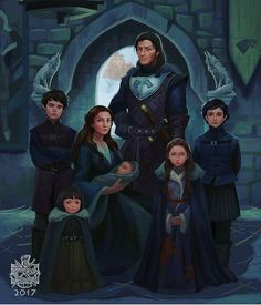 [NO SPOILERS] A Stark family portrait. Winter is coming. Dessin Game Of Thrones, Arte Game Of Thrones, Casa Stark, House Stark, Family Portrait Drawing, Family Portraits, Character Inspiration, Character Art, Got Stark