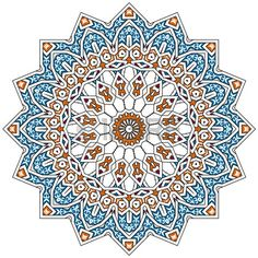 Illustration of traditional Persian-Arabic-Turkish-Islamic Pattern vector art, clipart and stock vectors. Motifs Islamiques, Islamic Motifs, Islamic Art Pattern, Persian Motifs, Pattern Art, Arabian Pattern, Art Arabe, Turkish Pattern, Mandala Art Lesson