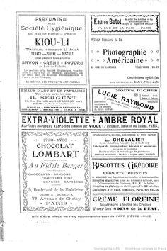 Publicités, L'Art d'être jolie : publication hebdomadaire illustrée / sous la direction de Mme Liane de Pougy, 20/08/1904