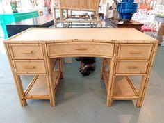 Rattan Bamboo Kneehole Desk