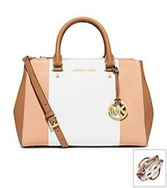 a12b2597b2cd MICHAEL Michael Kors® Sutton Center Stripe Medium Satchel Cheap Michael Kors  Purses