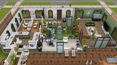Rear view of first floor of single female house with indoor atrium - in my Sims Freeplay
