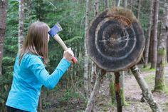Øksekasting i Utdrikningslag er en øvelse som kanskje ikke krever så mye trening for og bli god, men som allikevel gir god Mestringsfølelse når man lykkes. Ta del i denne eldgamle Viking sporten og la konkurranse og kriger instinktet komme frem. Klikk på bildet for og finne firmaer som tilbyr dette. Field Archery, Paul Bunyan, Fort Bragg, Traditional Archery, South Lake Tahoe, Tree Trunks, Outdoor Settings, Nottingham, Native American Indians