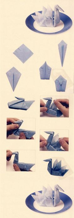 DIY origami paper swan, I love the outcome using these instructions, a lovely design :] Origami Paper Swan, Origami And Kirigami, Fabric Origami, Origami Art, Oragami, Napkin Origami, Paper Napkin Folding, Paper Napkins, Folding Napkins