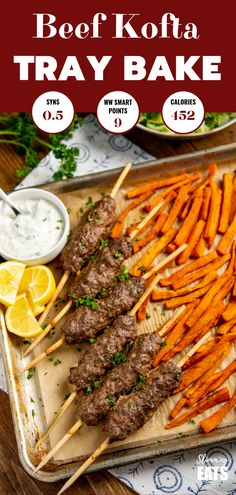 Yummy Beef Kofta Tray Bake - authentic Kofta kebabs with sweet potato fries and deliciousroasted vegetables all finished off with a garlic yoghurt sauce.for an easy any day meal. Gluten Free, Slimming World and Weight Watchers friendly