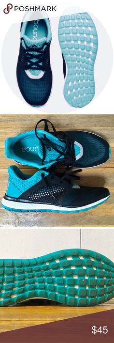 new style e26bb 792d7 Adidas Energy Bounce 2 Running Shoe Black   turquoise blue. Mesh upper.  Adidas patented tri-stripes. Cushioned footbed. Very light and comfortable.