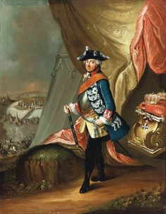 Circle of Antoine Pesne (1683-1757): Portrait of King Frederick II of Prussia in military uniform. 18th century.