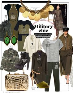 The classic military uniform has been reinterpreted into women's fashion by adding a heel to a boot, army green pants, camouflage print and dog tags as necklaces. I find this interesting because it is the men's uniform that has influenced women's fashion and not so much women's role in the army such as nurse uniforms.