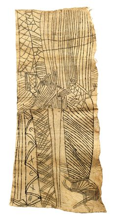 Africa | Painted barkcloth, Pongo.   Mbuti People, Ituri Forest, Northeast DR Congo | Pounded ficus tree bark, plant dye | Collected in 1959 by the family of Pierre Thoma