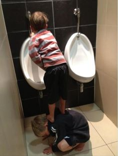 "Brothers rock!Wow that is one BRAVE big brother!! Little boys certainly don't always""hit the mark!"""