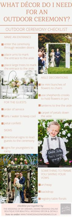 Outdoor Wedding Ceremony Decorations – Checklist from @theweddingomd www.theweddingofmydreams.co.uk
