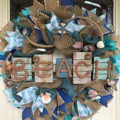 Nautical Wreath,Beach Decor,Beach Wreath, Nautical Decor,Coastal Wreath,Shell Wreath, Beach Wedding,Coastal Wedding,Nautical Wedding,Beach
