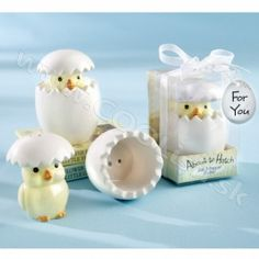 """""""About to Hatch"""" Ceramic Baby Chick Salt & Pepper Shakers at Elegant Baby Favors. We're your number one source for baby shower favors. Kitchen themed baby shower favors at discount prices! Bride Shower, Wedding Shower Gifts, Baby Shower Favors, Wedding Favors, Baby Shower Gifts, Party Favors, Wedding Gifts, Shower Party, Wedding Souvenir"""