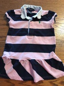 26050bf452645 Ralph Lauren Toddler Girls Size 18 Months Pink, Navy Striped Rugby Dress |  eBay
