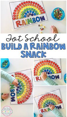 This yummy rainbow themed snacks are perfect for a weather theme in tot school, preschool, or kindergarten! Rainbow Crafts Preschool, Preschool Colors, Kindergarten Classroom, Toddler Preschool, Classroom Ideas, Rainbow Snacks, Rainbow Theme, Infant Activities, Preschool Activities