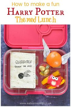 Fun Harry Potter Themed Lunch for Kids How to make a fun Harry Potter themed lunch, complete with edible book sandwich, cheese owl and golden snitch orange – with video tutorial Bento Box Lunch For Kids, Kids Lunch For School, Lunch Boxes, Food Art For Kids, Cooking With Kids, Easy School Lunches, Bag Lunches, Work Lunches, Healthy Lunches