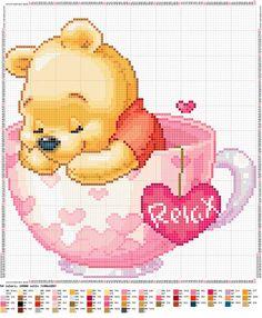 Winnie the Pooh e i suoi amici, schemi a punto croce / Winnie the Pooh and his friends, cross stitch patterns Disney Cross Stitch Patterns, Cross Stitch For Kids, Cross Stitch Baby, Cross Stitch Animals, Cross Stitch Charts, Cross Stitch Designs, Disney Stitch, Cross Stitching, Cross Stitch Embroidery
