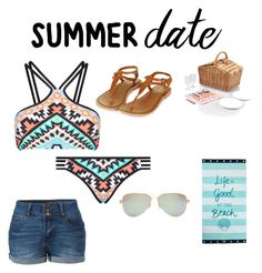 """""""Untitled #85"""" by maybaby19 ❤ liked on Polyvore featuring Seafolly, LE3NO, Topshop, Tiffany & Co., Picnic Time, Lexington, beach and summerdate"""