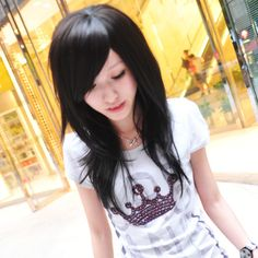 Square face, round face and wig the fluffy oblique bangs long straight hair 20006 Pretty Hairstyles, Straight Hairstyles, Cosplay Hair, Cosplay Wigs, Haircut For Square Face, Square Faces, New Hair, Hair Inspiration, Hair Makeup