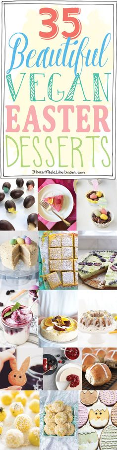 35 Beautiful Vegan Easter Desserts that are totally Easter Bunny approved. Chocolate, candies, cookies, cakes and more delicious recipes. Dairy free, egg f Easter Desserts, Easter Recipes, Holiday Desserts, Holiday Recipes, No Dairy Recipes, Vegan Dessert Recipes, Whole Food Recipes, Delicious Recipes, Vegan Baking
